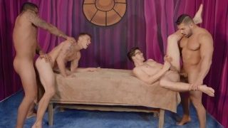 Spicy Gay Orgy With Four Hot muscled Buff Dudes